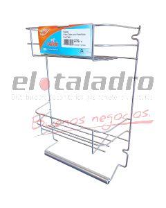 ORGANIZADOR REPISA CHICO DOBLE C/P.ROLLO PLATA