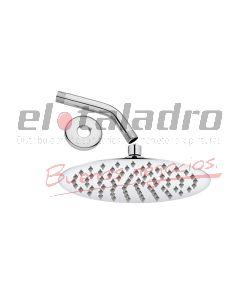 LLUVIA ART.REDONDA ACERO C/BRAZO Y ROSETA 4'' ACERO