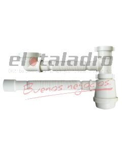 SIFON DOBLE PLASTICO AJUSTABLE 50mm. DESCARGA 40/50.