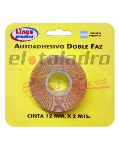 CINTA DOBLE FAZ 12mm -ROLLO 2Mts-